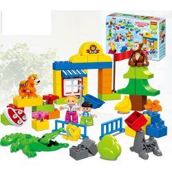 Lego Duplo MOC Hystoys HM079 Suburban Happy Zoo Xếp hình Sở thú Suburban vui nhộn 63 khối