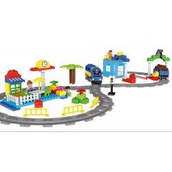 Lego Duplo MOC Huimei HM312 high - speed rail car logistics center Xếp hình Trung tâm đường sắt, xe tốc độ logistics 110 khối