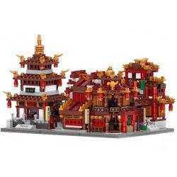 Lego Architecture MOC XingBao XB-01102 New Zhong Hua Street Series The Teahouse Library Cloth House Wangjiang Tower Set Building Xếp hình Quán trà và ngôi nhà vải trên phố Zhong Hua 1502 khối