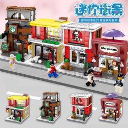 Lego Creator Mini Street MOC Sembo SD6010 SD6011 SD6012 SD6013 Street McDonald's KFC Starbucks Shop Nano Block Diamond Building Xếp hình 540 khối