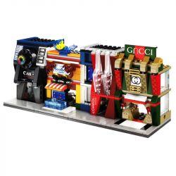 Sembo SD6046 SD6047 SD6048 SD6049 (NOT Lego Mini Modular Sembo Block:seafood Shop ) Xếp hình Cửa Hàng Đồ Da, Mỹ Phẩm, Đồ Hải Sản, Máy Ảnh gồm 4 hộp nhỏ lắp được 4 mẫu 414 khối
