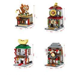 Sembo SD6092 SD6093 SD6094 SD6095 Mini Modular Mini Street Chinatown Xếp Hình Bộ 4 Quán Cổ Trung Quốc Quán Trà, Quán Rượu, Quán Trang Sức, Quán Ca Kịch 490 Khối