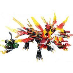 Lego NinJaGo MOC Lepin 39010 Sembo S8300 Phoenix Flame Dragon Xếp hình Rồng lửa kỳ diệu 380 khối