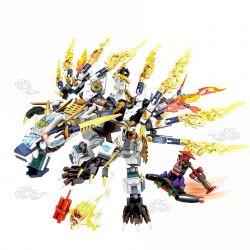 Lego NinJaGo MOC Sembo S8503 White Dragon Ninja Thunder Swordman Xếp hình 502 khối