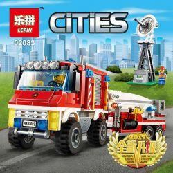 Lepin 02083 City 60111 Fire Utility Truck Xếp hình Xe bán tải cứu hỏa 412 khối