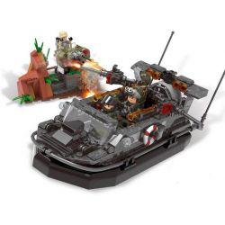 Lego Military Army MOC XingBao XB-06017 The Assault Boat Xếp hình Con Tàu Chiến Hung Dữ 497 khối