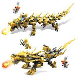 Lego NinJaGo MOC Lepin 8920 Gold flame Dragon 2-in-1 Xếp hình 369 khối