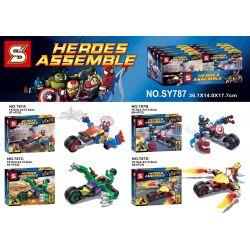 Sheng Yuan SY787 Super Heroes MOC Spider-Man US Captain Hulk Chariot building Xếp hình Spider-Man với xe ngựa - Captain America và tàu thủy 332 khối