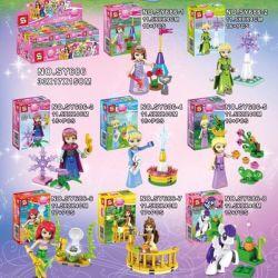 Lego Disney Princess MOC Sheng Yuan SY686 Princess 8 in 1 Xếp hình trọn bộ 8 nhân vật Disney Bà tiên Elsa Ana Ariel Lọ lem Aurora Belle ngựa Pony 135 khối