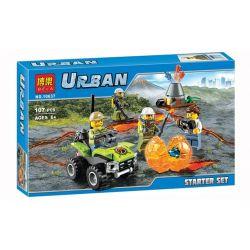 Bela 10637 (NOT Lego City 60120 Volcano Starter ) Xếp hình Nghiên Cứu Núi Lửa 107 khối