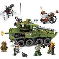 Lego Block Gold Army MOC Sembo S11694 Block Gold Tank with Minifigs Xếp hình Búp bê ngăn chặn xe tăng bằng vàng 438 khối