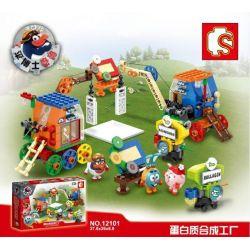 Sembo 12101 (NOT Lego Smeshariki Protein Factory Of Kikoriki ) Xếp hình Nhà Máy Sản Xuất Protein Của Biệt Đội Thú Nhồi Bông 413 khối