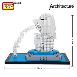 Miniblock Architecture MOC Loz 1020 Merlion Park Xếp hình Thú đầu sư tử Merlion 367 khối