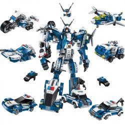 Enlighten 1407 (NOT Lego Transformers Police Robot ) Xếp hình Rô-Bốt Cảnh Sát lắp được 7 mẫu 577 khối