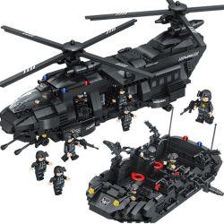 Lego Military Army MOC Qunlong 0108 The military medium-sized transport helicopter Xếp hình Trực Thăng Vận Tải Quân Sự 1351 khối