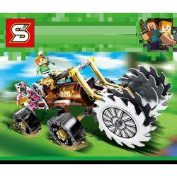 Sheng Yuan SY7025 Minecraft Four-Wheel Trolley Crusher Xếp Hình Xe Bốn Bánh Có Máy Nghiền 185 Khối