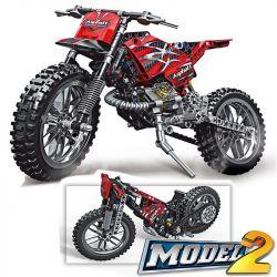 Decool 3373 Lele 38041 (NOT Lego Technic 42007 Moto Cross Bike ) Xếp hình Xe Máy Vượt Địa Hình 253 khối