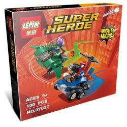 Lepin 07027 Super Heroes 76064 Mighty Micros: Spider-Man vs. Green Goblin Xếp hình người Nhện đại chiến yêu tinh Xanh lá 74 khối