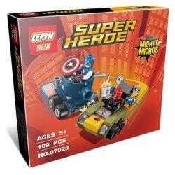 Lepin 07028 Super Heroes 76065 Mighty Micros: Captain America vs. Red Skull Xếp hình Đội Trưởng Mỹ đại chiến Đầu Lâu Đỏ 81 khối