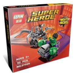 Lepin 07029 Super Heroes 76066 Mighty Micros: Hulk vs. Ultron Xếp hình người khổng lồ xanh đại chiến ultron 66 khối