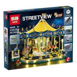 Lepin 15036 15036B (NOT Lego Creator Expert 10257 Carousel ) Xếp hình Đu Quay Ngựa Gỗ Có Đèn Động Cơ Pin gồm 2 hộp nhỏ 2705 khối