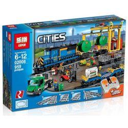 Lepin 02008 (NOT Lego City 60052 Cargo Train. ) Xếp hình Tàu Chở Hàng Điều Khiển Từ Xa 959 khối