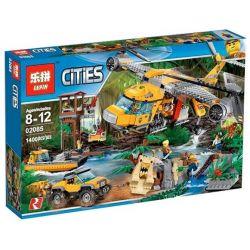 Lepin 02085 City 60162 Jungle Air Drop Helicopter Xếp hình Đội trực thăng vận chuyển rừng 1400 khối