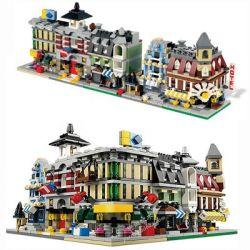 Decool 1105 1106 1107 1108 1109 (NOT Lego Creator Expert 10230 Mini Modulars ) Xếp hình Green Grocer Cafe Corner Fire Brigade Grand Emporium Market Street gồm 5 hộp nhỏ 1356 khối