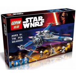 Lepin 05029 Lele 35006 Star Wars 75149 Resistance X-wing Fighter Xếp hình Phi thuyền chiến đấu cánh chữ X 740 khối