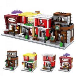 Sembo SD6010 SD6011 SD6012 SD6013 Mini Modular Street McDonald's KFC Starbucks Shop Nano Block Diamond Building Xếp Hình Các Cửa Hàng Vui Nhộn Trên Phố 540 Khối