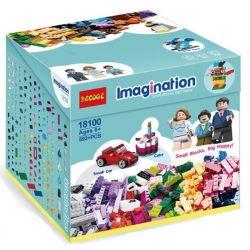 Decool 18100 (NOT Lego Classic 10695 Creative Box: Family, Car, House ) Xếp hình Hộp Sáng Tạo: Gia Đình, Ô Tô, Ngôi Nhà 592 khối
