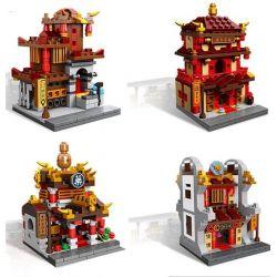 Xingbao XB-01101 Creator Mini Chinatown Street MOC Drugstore, Inn, Jewelry shop, Blacksmith Xếp hình Bộ 4 nhà cổ Trung Quốc nhỏ xinh tiệm thuốc, khách điếm, tiệm trang sức, lò rèn 1391 khối