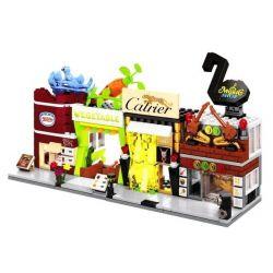 Sembo SD6054 SD6055 SD6056 SD6057 Mini Modular Catrier, Music, Nestle, Vegetable Shop Xếp Hình Bộ 4 Cửa Hàng Trang Sức, âm Nhạc, Thực Phẩm, Rau Củ 459 Khối