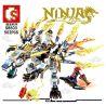 Sembo S8503 Ninjago Movie White Dragon Ninja Thunder Swordman Xếp Hình Rồng Trắng Và Ninja Sấm Sét 502 Khối