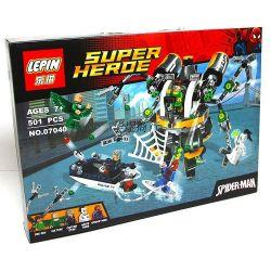 Lepin 07040 (NOT Lego Marvel Super Heroes 76059 Spider-Man: Doc Ock's Tentacle Trap ) Xếp hình Người Nhện Và Cạm Bẫy Của Người Bạch Tuộc 501 khối