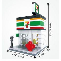 Hsanhe 6401 (NOT Lego Creator Expert Modular Buildings 7 Days Supermarket ) Xếp hình Siêu Thị 7 Days 199 khối