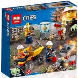 Lepin 02100 Lele 28015-2 Bela 10873 City 60184 Mining Team Xếp Hình Biệt đội đào Mỏ 91 Khối