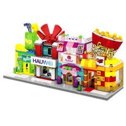 Sembo SD6050 SD6051 SD6052 SD6053 Mini Modular Pop Corn, HuaWei, Nail Art, Sprite Store Xếp Hình Bộ 4 Cửa Hàng Bỏng Ngô, điện Thoại, Làm Móng, Giải Khát 485 Khối