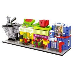 Sembo SD6026 SD6027 SD6028 SD6029 Mini Modular LV, Pepsi, Fruits, Flower Xếp Hình Bộ 4 Cửa Hàng Túi Xách, đồ Uống, Trái Cây, Hoa Tươi 549 Khối
