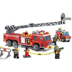Enlighten 908 City Fire Engine 607 Xếp hình Xe Thang Cứu Hỏa Lớn Và Xe Chiếu Đèn 607 khối