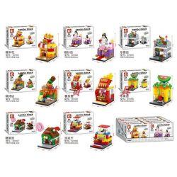 Sheng Yuan Sembo S Brand 601001 601002 601003 601004 601005 601006 Creator Mini Street Popcorn, Fries Bridal Shop Xếp Hình Chuỗi Cửa Hàng Bỏng Ngô, Bánh Rán, Váy Cưới 597 Khối