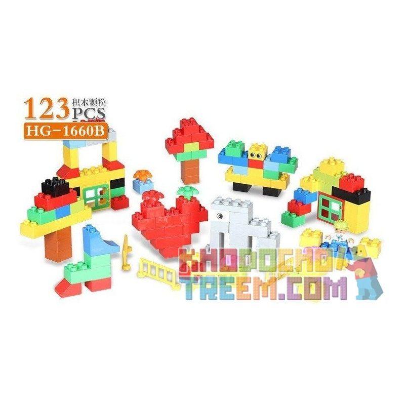 Hystoys Hongyuansheng Aoleduotoys HG-1660B (NOT Lego Duplo Creative Bucket ) Xếp hình Thiên Đường Học Tập 123 khối