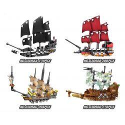 Lepin 03058 Pirates of the Caribbean MOC Black Pearl Queen Anne's Reveage Slient Mary Xếp hình Bộ 4 tàu cướp biển thu nhỏ 1117 khối