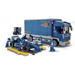 """Sluban M38-B0357 Speed Champions F1 """"Blue Lightning"""" Racing Truck Xếp hình Xe Đua F1 Và Xe Tải Bảo Dưỡng 641 khối"""