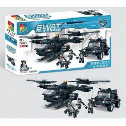 Woma C0533 (NOT Lego SWAT Special Force Swat Helicopter Car ) Xếp hình Trực Thăng Phối Hợp Ô Tô Lính Đặc Nhiệm 594 khối