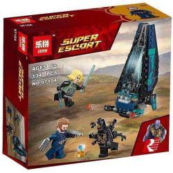 Lepin 07104 Bela 10834 (NOT Lego Marvel Super Heroes 76101 Outrider Dropship Attack ) Xếp hình Bảo Vệ Vương Quốc Wakanda 134 khối