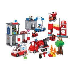 Jun Da Long Toys JDLT 5276A Duplo Fire City Xếp Hình Thành Phố Lính Cứu Hỏa 126 Khối