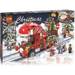 Winner Jemlou 20061 Christmas Christmas Truck Xếp hình Xe Ô Tô Tải Chở Đoàn Giáng Sinh 375 khối