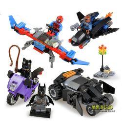 Sheng Yuan SY201 Marvel Super Heroes Spider Man Batman Cat Woman Xếp Hình Người Dơi Người Nhện Miêu Nữ 233 Khối