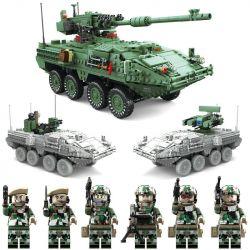 Kazi KY10001 Military Army Stryker MGS-M1128 Xếp Hình Ô Tô Quân Sự Gắn Pháo 1672 Khối